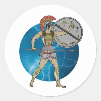 Greek Warrior Classic Round Sticker
