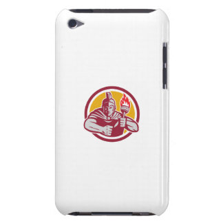 Greek Warrior Torch Circle Retro Barely There iPod Case