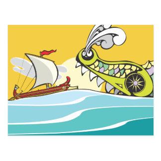 Greek Warship and Monster Postcard