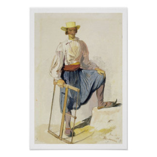 Greek Woodcutter, 13 June 1856 (pen, ink and w/c o Poster