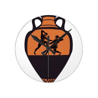 Greek Wrestling Vase Round Clock