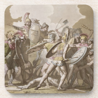 Greeks and Trojans Fight over the Body of Patroclu Beverage Coaster