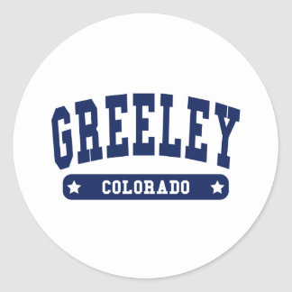 Greeley Colorado College Style tee shirts Classic Round Sticker