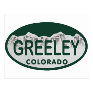 Greeley license oval postcard
