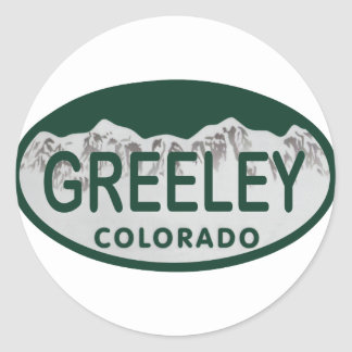 Greeley license oval classic round sticker