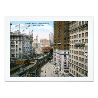 Greeley Square Broadway New York City 1921 Personalized Invitation