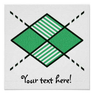 Green-04 Argyle Design Pattern with stripes Posters