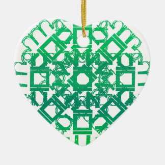 Green 101STAR Double-Sided Heart Ceramic Christmas Ornament