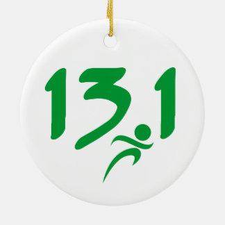 Green 13.1 half-marathon ceramic ornament