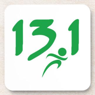 Green 13.1 half-marathon drink coaster