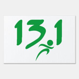 Green 13.1 half-marathon lawn sign