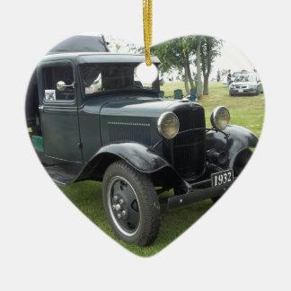 Green 1932 dump truck with classic headlamps ceramic ornament