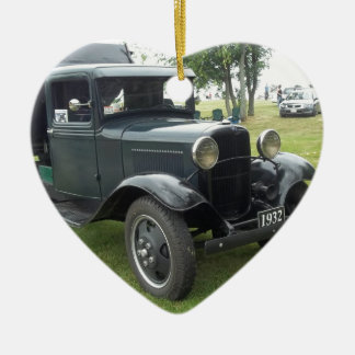 Green 1932 dump truck with classic headlamps Double-Sided heart ceramic christmas ornament