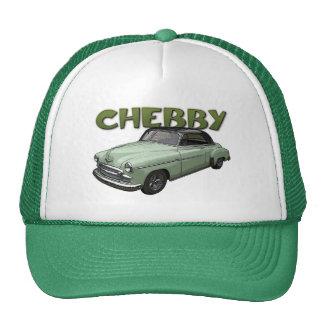 Green 1950 Chevrolet coupe on hat. Trucker Hat