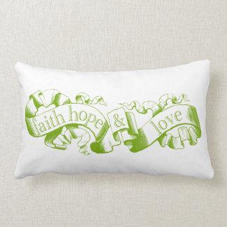 Green 1 Corinthians 13 Faith Hope Love Pillow