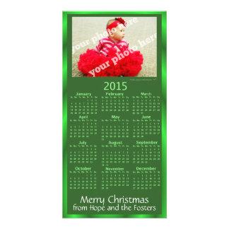 Green 2015 Calendar Custom Photo Christmas Card Photo Card Template