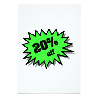 Green 20 Percent Off Custom Invitations