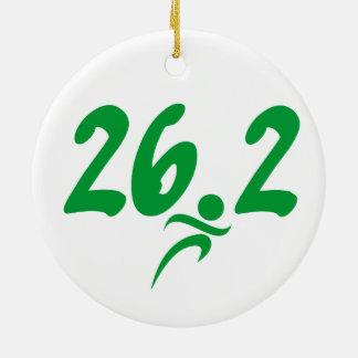 Green 26.2 marathon ceramic ornament