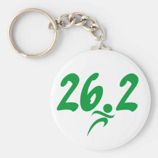 Green 26.2 marathon basic round button keychain