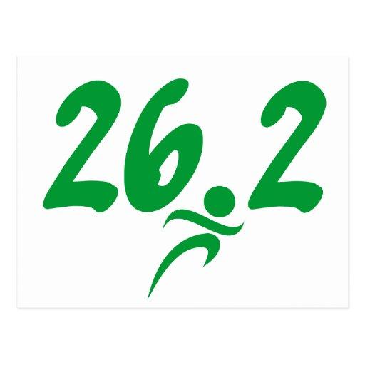 Green 26.2 marathon postcard