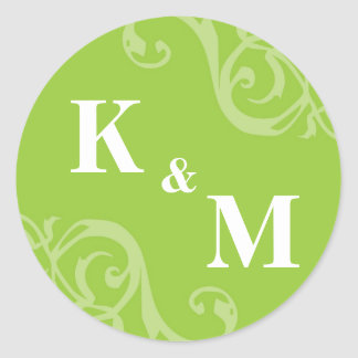 Green 2 initial letter monogram favor tag seal classic round sticker