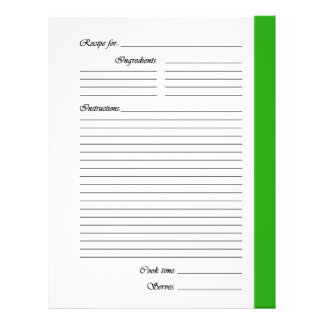 Green 2-sided Recipe Pages