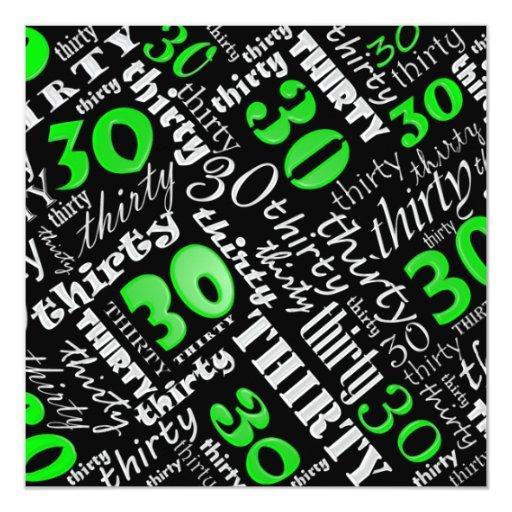 Green 30th Birthday Party Invitation