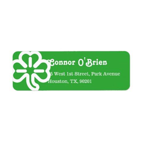 Green 3 Leaf Shamrock Clover Irish St Patricks Day Label