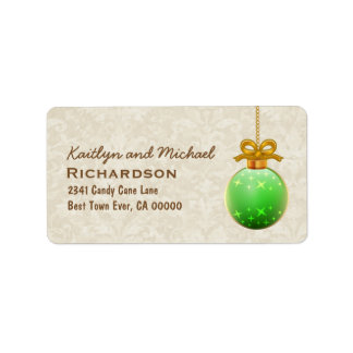 Green 3D Look Christmas Ornament with Bow C04 Label