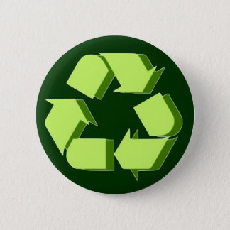 Green 3D Recycle Pinback Button