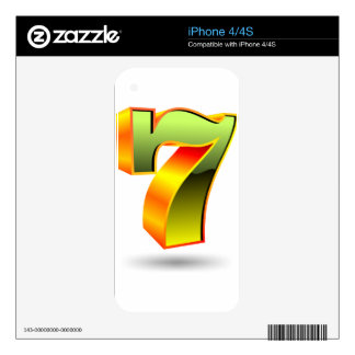 green 3D seven number iPhone 4S Decals