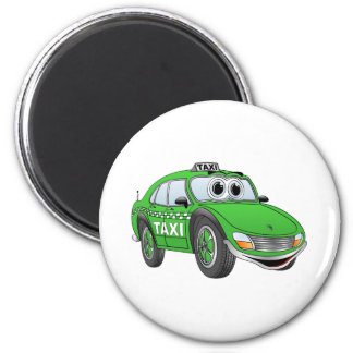 Green 4 Door Taxi Cab Cartoon Magnet
