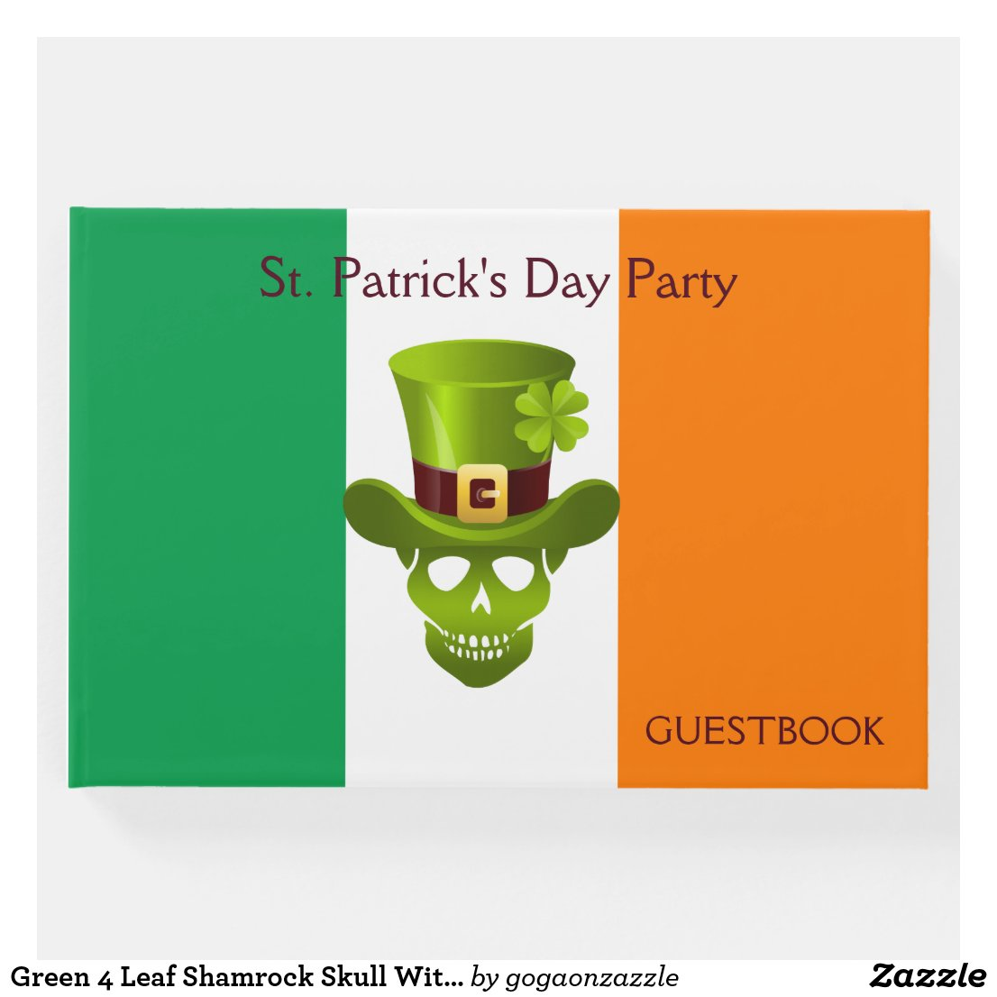Green 4 Leaf Shamrock Skull With Hat