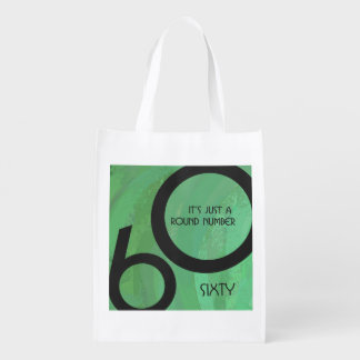 Green 60 Decade Birthday Reusable Grocery Bags