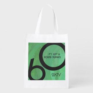 Green 60 Decade Birthday Reusable Grocery Bags