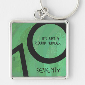 Green 70 Decade Birthday Silver-Colored Square Keychain