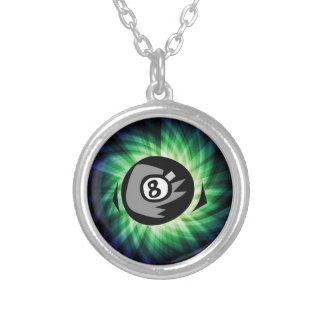 Green 8 ball silver plated necklace