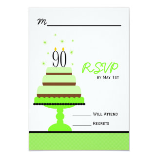 Green 90th Birthday Cake Party RSVP Card
