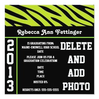Green a black zebra print Graduation Invitations