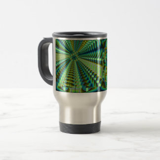 Green abstract 45 travel mug