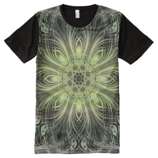 Green Abstract All-Over Print T-shirt