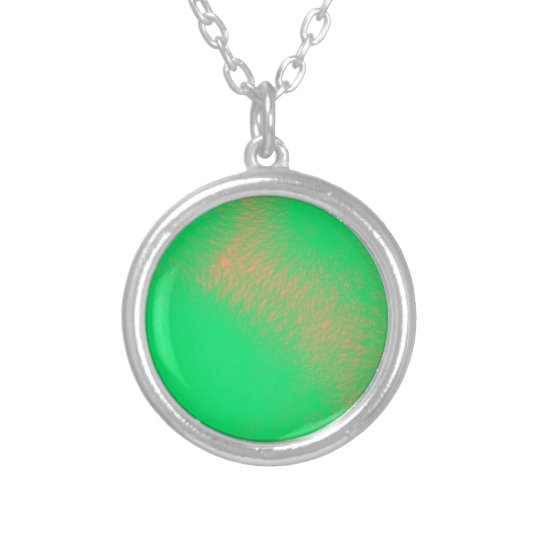 green abstract art silver plated necklace