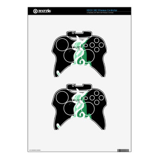 Green abstract cat xbox 360 controller skin