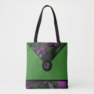 Green Abstract Designer Tote Bag