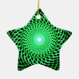 Green abstract eye ceramic ornament
