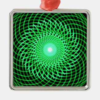 Green abstract eye metal ornament