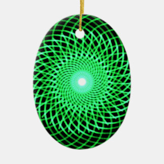 Green abstract eye christmas ornament
