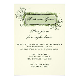 Green Abstract Floral Couples Wedding Shower Personalized Announcement