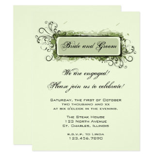 Green Abstract Floral Engagement Party Invitation