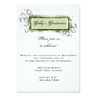 Green Abstract Floral Graduation Party Invitation